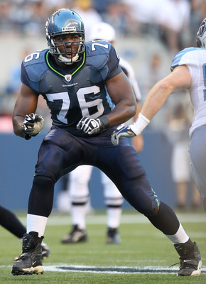 SEATTLE - AUGUST 14:  Tackle Russell Okung #76 of the Seattle Seahawks pass blocks during the preseason game against the Tennessee Titans at Qwest Field on August 14, 2010 in Seattle, Washington. (Photo by Otto Greule Jr/Getty Images)