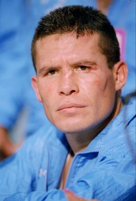 10 Sep 1993:  Julio Caesar Chavez speaks during a press conference after his fight against Pernell Whitaker in San Antonio, Texas. Chavez won the fight. Mandatory Credit: Holly Stein  /Allsport