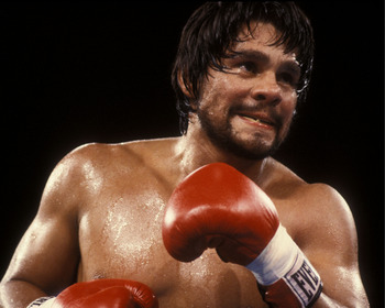 Boxer Roberto Duran sets to unload a punch during a 1983 fight at the Orange Bowl, Miami, Florida. (Photo by Al Messerschmidt/WireImage)