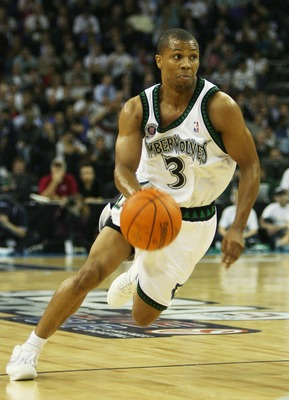 LONDON - OCTOBER 10:  Sebastian Telfair of Minnesota runs with the ball during NBA Europe Live 2007 Tour match between the Boston Celtics and the Minnesota Timberwolves at the O2 Arena on October 10, 2007 in London, England.  NOTE TO USER: User expressly