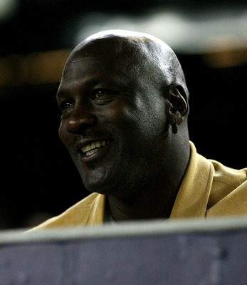 NEW YORK - OCTOBER 19:  Basketball Hall of Famer Michael Jordan sits in the stands during Game Four of the ALCS during the 2010 MLB Playoffs at Yankee Stadium on October 19, 2010 in the Bronx borough of New York City.  (Photo by Andrew Burton/Getty Images