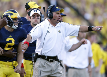 ANN ARBOR, MI - SEPTEMBER 27: Head coach Rich Rodriguez of the Michigan Wolverines reacts after fourth quarter play while playing the Wisconsin Badgers on September 27, 2008 at Michigan Stadium in Ann Arbor, Michigan. (Photo by Gregory Shamus/Getty Images