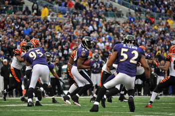 BALTIMORE, MD - JANUARY 2:  Ed Reed #20 of the Baltimore Ravens returns a last second endzone interception in the first half of the game against the Cincinnati Bengals  at M&T Bank Stadium on January 2, 2011 in Baltimore, Maryland. The Ravens defeated the