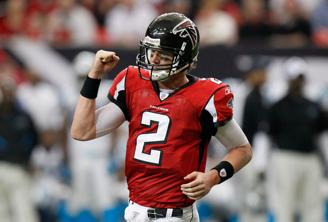ATLANTA, GA - JANUARY 02:  Matt Ryan #2 of the Atlanta Falcons  reacts after a touchdown against the Carolina Panthers at Georgia Dome on January 2, 2011 in Atlanta, Georgia.  (Photo by Kevin C. Cox/Getty Images)