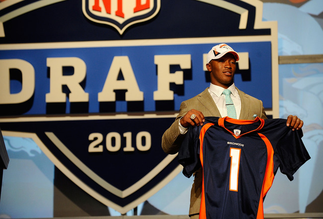 NEW YORK - APRIL 22:  Demaryius Thomas from the Georgia Tech Yellow Jackets holds up a Denver Broncos jersey after he was drafted by the Broncos number 22 overall during the the first round of the 2010 NFL Draft at Radio City Music Hall on April 22, 2010