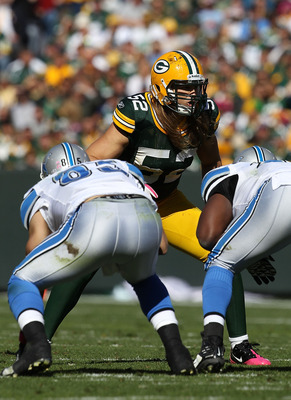 GREEN BAY, WI - OCTOBER 03: Clay Matthews #52 of the Green Bay Packers awaits the start of play against the Detroit Lions at Lambeau Field on October 3, 2010 in Green Bay, Wisconsin. The Packers defeated the Lions 28-26. (Photo by Jonathan Daniel/Getty Im