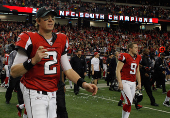 ATLANTA, GA - JANUARY 02:  Quarterback Matt Ryan #2 of the Atlanta Falcons walks to the field after the Falcons defeated the Carolina Panthers  31-10 at the Georgia Dome on January 2, 2011 in Atlanta, Georgia.  (Photo by Scott Halleran/Getty Images)