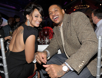 DALLAS - FEBRUARY 12:  TV personality LaLa Vazquez (L) and NBA player Carmelo Anthony attend the Exclusive FABULOUS 23 Dinner hosted by Jordan Brand during All-Star Weekend on February 12, 2010 in Dallas, Texas.  (Photo by Charley Gallay/Getty Images for