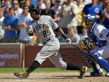 CHICAGO - JUNE 30: Lastings Milledge #85 of the Pittsburgh Pirates hits the ball against the Chicago Cubs at Wrigley Field on June 30, 2010 in Chicago, Illinois. The Pirates defeated the Cubs 2-0. (Photo by Jonathan Daniel/Getty Images)