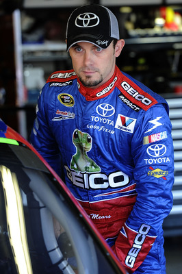 FORT WORTH, TX - NOVEMBER 06:  Casey Mears, driver of the #13 GEICO Toyota, stands in the garage area during practice for the NASCAR Sprint Cup Series AAA Texas 500 at Texas Motor Speedway on November 6, 2010 in Fort Worth, Texas.  (Photo by John Harrelso