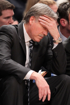 NEW YORK - FEBRUARY 05: Head coach Mike D'Antoni of the New York Knicks shows his frustration in the final minutes against the Milwaukee Bucks at Madison Square Garden February 5, 2010 in New York City. NOTE TO USER: User expressly acknowledges and agrees