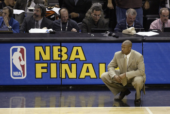 SAN ANTONIO - JUNE 15:  Head coach Byron Scott of the New Jersey Nets looks on dejected during Game six of the 2003 NBA Finals against the San Antonio Spurs at the SBC Center on June 15, 2003 in San Antonio, Texas.  The Spurs won 88-77.  NOTE TO USER:  Us