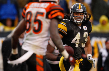PITTSBURGH - DECEMBER 12:  Troy Polamalu #43 of the Pittsburgh Steelers intercepts a pass from Carson Palmer #9 of the Cincinnati Bengals during the game on December 12, 2010 at Heinz Field in Pittsburgh, Pennsylvania.  (Photo by Jared Wickerham/Getty Ima