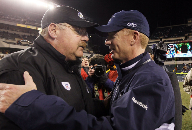 PHILADELPHIA, PA - JANUARY 02: Head coach Andy Reid of the Philadelphia Eagles meets with head coach Jason Garrett of the Dallas Cowboys after their game on January 2, 2011 at Lincoln Financial Field in Philadelphia, Pennsylvania. The Cowboys defeated the