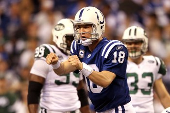 INDIANAPOLIS - JANUARY 24:  Quarterback Peyton Manning #18 of the Indianapolis Colts reacts during the first half against the New York Jets during the AFC Championship Game at Lucas Oil Stadium on January 24, 2010 in Indianapolis, Indiana. The Colts defea