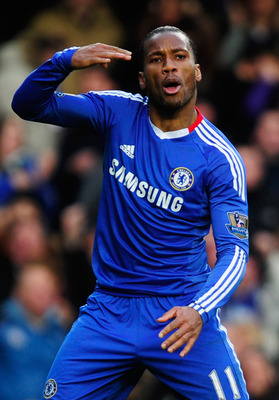 LONDON, ENGLAND - JANUARY 02:  Didier Drogba of Chelsea celebrates as he scores their second goal during the Barclays Premier League match between Chelsea and Aston Villa at Stamford Bridge on January 2, 2011 in London, England.  (Photo by Jamie McDonald/