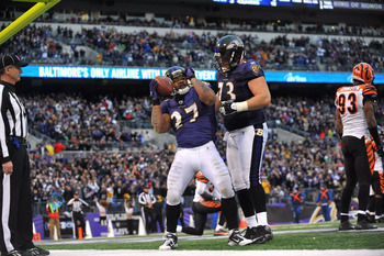 BALTIMORE, MD - JANUARY 2:  Ray Rice #27 of the Baltimore Ravens celebrates his team's only touchdown against the Cincinnati Bengals  at M&T Bank Stadium on January 2, 2011 in Baltimore, Maryland. The Ravens defeated the Bengals 13-6. (Photo by Larry Fren