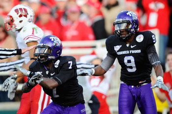 PASADENA, CA - JANUARY 01:  Cornerback Greg McCoy #7 of the TCU Horned Frogs celebrates after defending a pass by the Wisconsin Badgers during the 97th Rose Bowl game on January 1, 2011 in Pasadena, California.  (Photo by Kevork Djansezian/Getty Images)