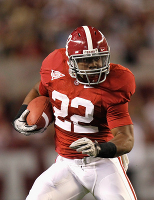 TUSCALOOSA, AL - OCTOBER 16:  Mark Ingram #22 of the Alabama Crimson Tide rushes upfield against the Ole Miss Rebels at Bryant-Denny Stadium on October 16, 2010 in Tuscaloosa, Alabama.  (Photo by Kevin C. Cox/Getty Images)