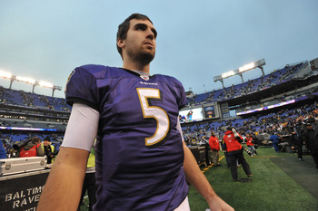 BALTIMORE, MD - JANUARY 2:  Joe Flacco #5 of the Baltimore Ravens walks off the field after the game against the Cincinnati Bengals  at M&amp;T Bank Stadium on January 2, 2011 in Baltimore, Maryland. The Ravens defeated the Bengals 13-6. (Photo by Larry Frenc