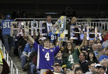 DETROIT, MI - JANUARY 02: Fans show their support for Brett Favre #4 of the Minnesota Vikings while they play the Detroit Lions at Ford Field on January 2, 2011 in Detroit, Michigan. Detroit won the game 20-13.  (Photo by Gregory Shamus/Getty Images)
