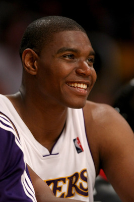 LOS ANGELES, CA - APRIL 12: Andrew Bynum #17 of the Los Angeles Lakers smiles as he sits on the bench during the game with the Memphis Grizzlies on April 12, 2009 at Staples Center in Los Angeles, California. The Lakers won 92-75. NOTE TO USER: User expre