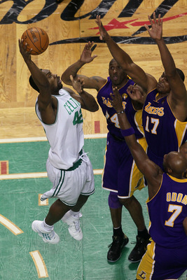 BOSTON - JUNE 13:  Tony Allen #42 of the Boston Celtics puts up a shot against Kobe Bryant #24, Andrew Bynum #17 and Lamar Odom #7 of the Los Angeles Lakers during Game Five of the 2010 NBA Finals on June 13, 2010 at TD Garden in Boston, Massachusetts. Th