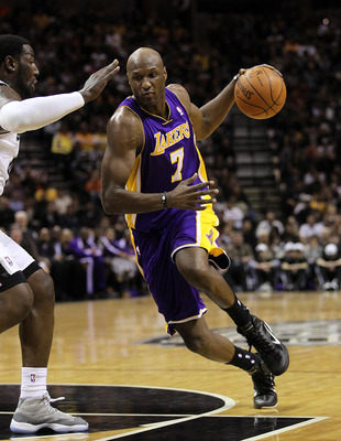 SAN ANTONIO, TX - DECEMBER 28:  Forward Lamar Odom #7 of the Los Angeles Lakers at AT&T Center on December 28, 2010 in San Antonio, Texas.  NOTE TO USER: User expressly acknowledges and agrees that, by downloading and/or using this photograph, user is con