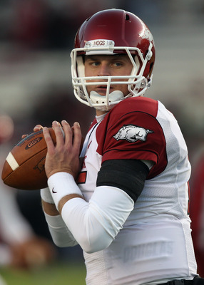 COLUMBIA, SC - NOVEMBER 06:  Ryan Mallett #15 of the Arkansas Razorbacks against the South Carolina Gamecocks during their game at Williams-Brice Stadium on November 6, 2010 in Columbia, South Carolina.  (Photo by Streeter Lecka/Getty Images)