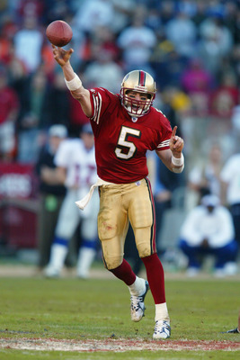 SAN FRANCISCO - JANUARY 5:  Quarterback Jeff Garcia #5 of the San Fransisco 49ers throws a pass against the New York Giants during the NFC Wild Card game at 3Com Park on January 5, 2003 in San Francisco, California.  The Niners' rally was the biggest in N