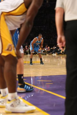 LOS ANGELES, CA - NOVEMBER 08:  Chris Paul #3 of the New Orleans Hornets on the court in the game against  the Los Angeles Lakers on November 8, 2009 at Staples Center in Los Angeles, California. The Lakers won 104-88.  NOTE TO USER: User expressly acknow