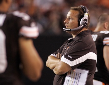 CLEVELAND - SEPTEMBER 2:  Cleveland Browns head coach Eric Mangini looks on during the preseason game against the Chicago Bears on September 2, 2010 at Cleveland Browns Stadium in Cleveland, Ohio. The Browns defeated the Bears 13-10.  (Photo by Justin K.