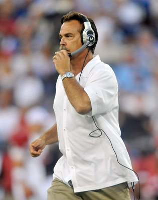 NASHVILLE, TN - AUGUST 23:  Coach Jeff Fisher of the Tennessee Titans walks the sidelines during a preseason game against the Arizona Cardinals at LP Field on August 23, 2010 in Nashville, Tennessee. Tennessee defeated Arizona, 24-10.  (Photo by Grant Hal