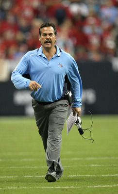 HOUSTON - NOVEMBER 23:  Head coach Jeff Fisher of the Tennessee Titans complains to the officials during the game with the Houston Texans on November 23, 2009  at Reliant Stadium in Houston, Texas.  The Titans won 20-17.  (Photo by Stephen Dunn/Getty Imag