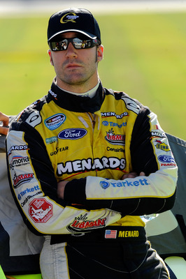 JOLIET, IL - JULY 09:  Paul Menard, driver of the #98 Moen / Menards Ford during qualifying for the NASCAR Sprint Cup Series LIFELOCK.COM 400 at the Chicagoland Speedway on July 9, 2010 in Joliet, Illinois.  (Photo by John Harrelson/Getty Images for NASCA