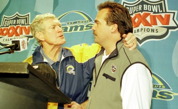 F363722 56: (NORTH AND SOUTH AMERICA SALES ONLY) St. Louis Rams head coach Dick Vermeil, left, shakes hands with Tennessee Titans head coach Jeff Fisher, right, after Super Bowl XXXIV between the Rams and Titans at the Georgia Dome in Atlanta, Georgia, Ja
