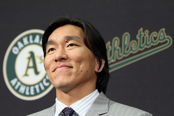 OAKLAND, CA - DECEMBER 14:  Hideki Matsui looks on during a press conference where he was introduced as the newest member of the Oakland Athletics at Oakland-Alameda County Coliseum on December 14, 2010 in Oakland, California.  The Oakland Athletics signe