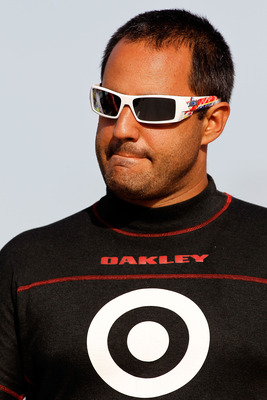 HOMESTEAD, FL - NOVEMBER 19:  Juan Pablo Montoya, driver of the #42 Target Chevrolet, stands on the grid during qualifying for the NASCAR Sprint Cup Series Ford 400 at Homestead-Miami Speedway on November 19, 2010 in Homestead, Florida.  (Photo by Todd Wa