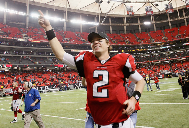 ATLANTA, GA - JANUARY 02:  Matt Ryan #2 of the Atlanta Falcons celebrates their 31-10 win over the Carolina Panthers at Georgia Dome on January 2, 2011 in Atlanta, Georgia.  (Photo by Kevin C. Cox/Getty Images)