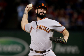 ARLINGTON, TX - OCTOBER 31:  Brian Wilson #38 of the San Francisco Giants pitches against the Texas Rangers in Game Four of the 2010 MLB World Series at Rangers Ballpark in Arlington on October 31, 2010 in Arlington, Texas.  (Photo by Elsa/Getty Images)