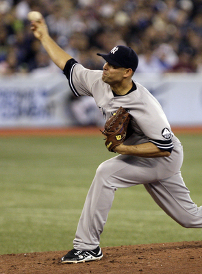 TORONTO, ON - SEPTEMBER 29: Javier Vasquez #31 of the New York Yankees throws during a MLB game against the Toronto Blue Jays at the Rogers Centre September 29, 2010 in Toronto, Ontario, Canada. (Photo by Abelimages/Getty Images)