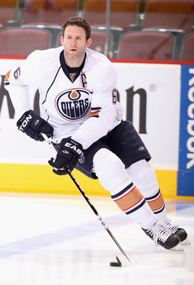 GLENDALE, AZ - NOVEMBER 23:  Ryan Whitney #6 of the Edmonton Oilers warms up before the NHL game against the Phoenix Coyotes at Jobing.com Arena on November 23, 2010 in Glendale, Arizona.  The Coyotes defeated the Oilers 5-0.  (Photo by Christian Petersen