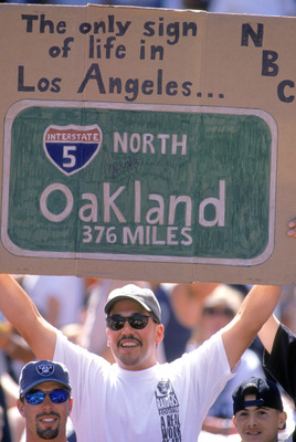 OAKLAND, CA - SEPTEMBER 3:  A fan supports Oakland Raiders during the game against the San Diego Chargers on September 3, 1995, at the Oakland Coliseum in Oakland, California. The Raiders won 17-7.  The Raiders moved to Oakland from Los Angeles this year,