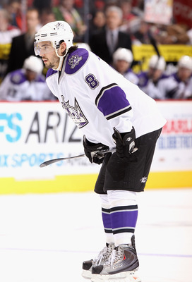 GLENDALE, AZ - DECEMBER 29:  Drew Doughty #8 of the Los Angeles Kings  during the NHL game against the Phoenix Coyotes at Jobing.com Arena on December 29, 2010 in Glendale, Arizona.  The Coyotes defeated the Kings 6-3.  (Photo by Christian Petersen/Getty