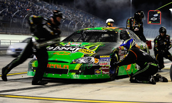 HOMESTEAD, FL - NOVEMBER 20:  Danica Patrick, driver of the #7 GoDaddy.com Chevrolet, makes a pit stop during the NASCAR Nationwide Series Ford 300 at Homestead-Miami Speedway on November 20, 2010 in Homestead, Florida.  (Photo by Rusty Jarrett/Getty Imag