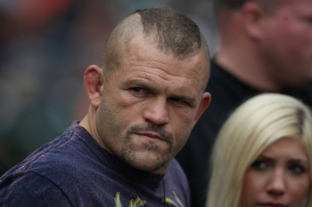SAN FRANCISCO - SEPTEMBER 13: UFC fighter Chuck Liddell looks on before the San Francisco Giants and Los Angeles Dodgers Major League Baseball game at AT&T Park on September 13, 2009 in San Francisco, California. (Photo by Jed Jacobsohn/Getty Images)
