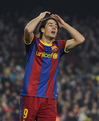 BARCELONA, SPAIN - DECEMBER 21:  Bojan Krkic of FC Barcelona reacts after missing a chance to score during the round of last 16 Copa del Rey match between FC Barcelona and Athletic Bilbao at Camp Nou on December 21, 2010 in Barcelona, Spain. The match end