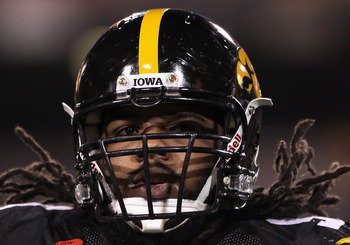 TEMPE, AZ - DECEMBER 28:  Defensive end Adrian Clayborn #94 of the Iowa Hawkeyes warms up before the Insight Bowl against the Missouri Tigers at Sun Devil Stadium on December 28, 2010 in Tempe, Arizona.  (Photo by Christian Petersen/Getty Images)