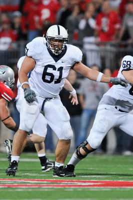 COLUMBUS, OH - NOVEMBER 13:  Stefan Wisniewski #61 of the Penn State Nittany Lions blocks against the Ohio State Buckeyes at Ohio Stadium on November 13, 2010 in Columbus, Ohio.  (Photo by Jamie Sabau/Getty Images)