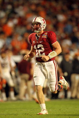 MIAMI, FL - JANUARY 03:  Andrew Luck #12 of the Stanford Cardinal celebrates a play against the Virginai Tech Hokies during the 2011 Discover Orange Bowl at Sun Life Stadium on January 3, 2011 in Miami, Florida. Stanford won 40-12. (Photo by Mike Ehrmann/